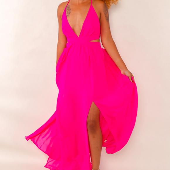 b77d50a91fd Womens Pink Slit Leg Maxi Dress